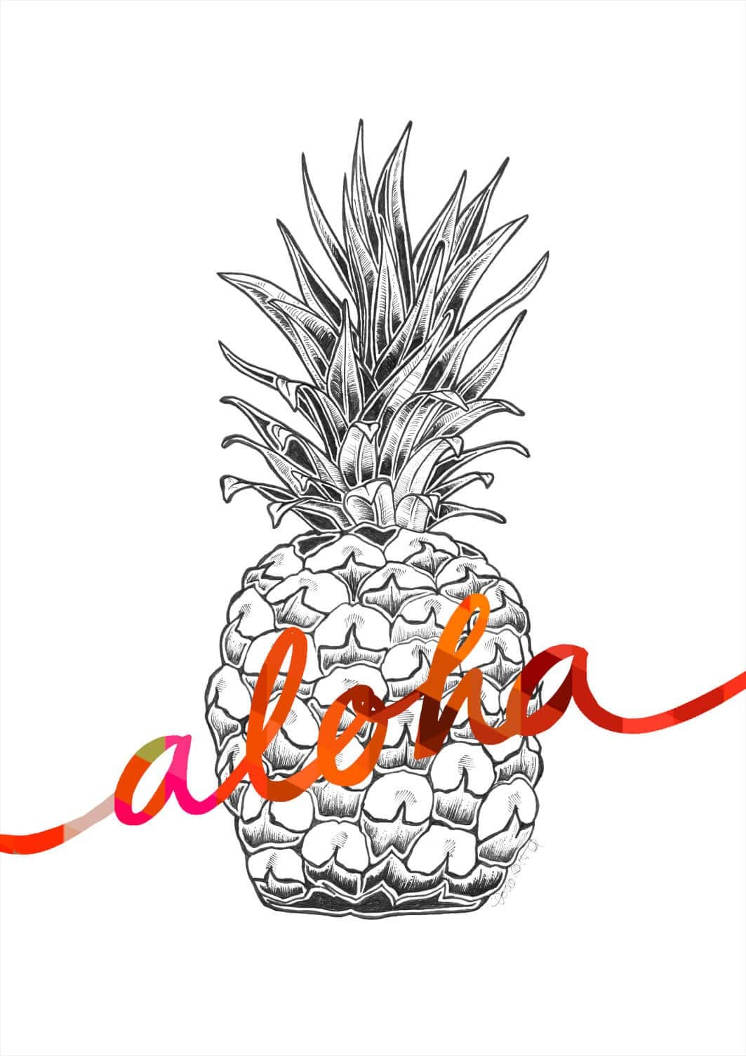 Aloha Pineapple Orange Matte Art Print