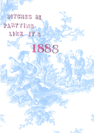 Blue Toile Bitches Be Partying Greeting Card