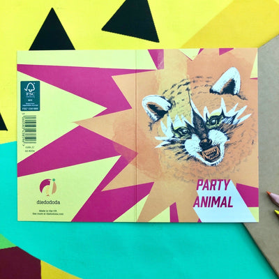 Party Animal Racoon Greeting Card