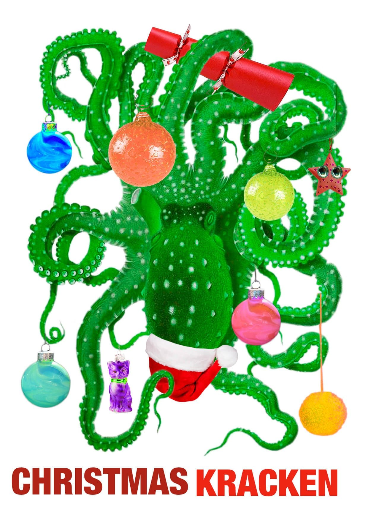 This image is of a card which features an octopus cleverly disguised as a christmas tree.