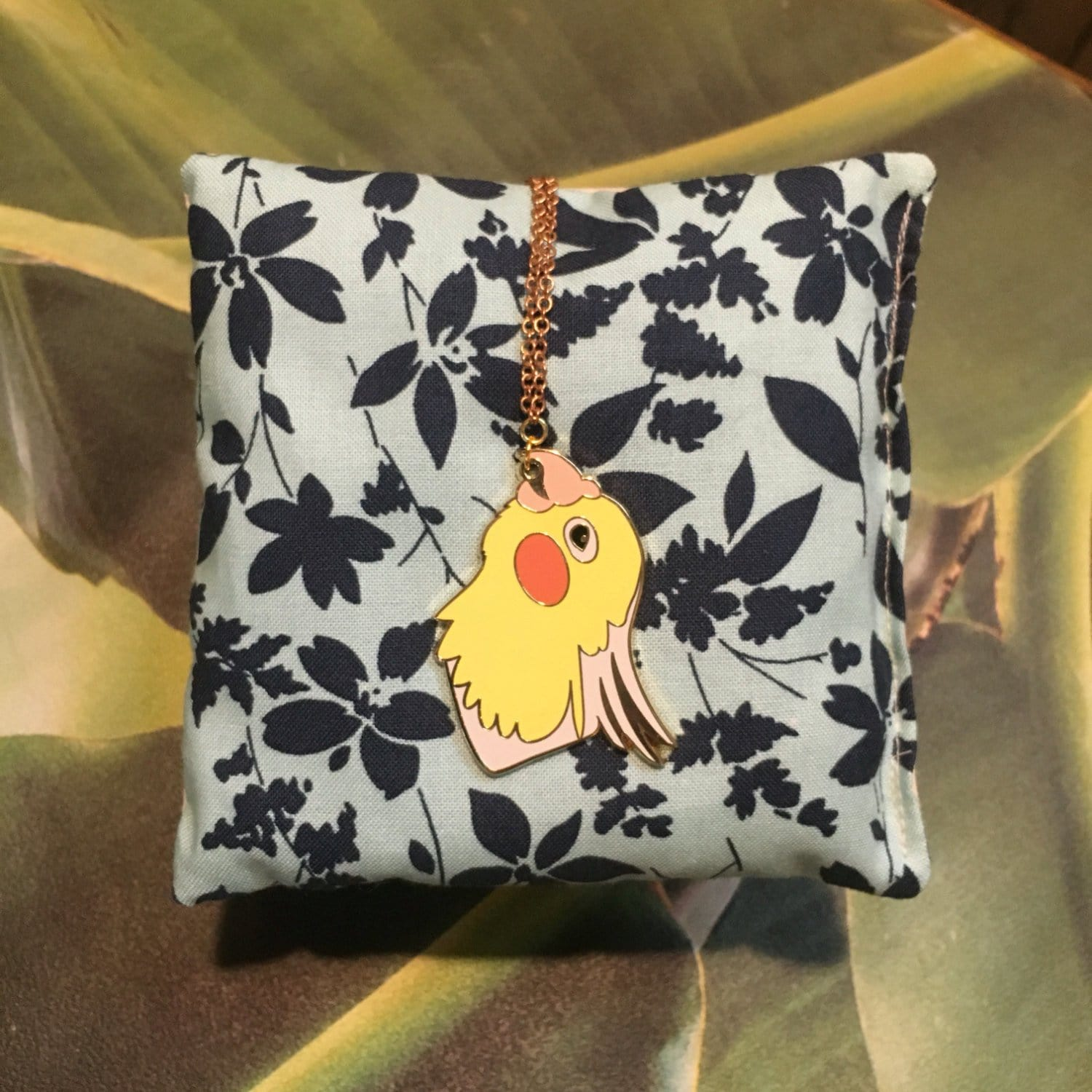 Cockatiel Enamel Pendant Necklace