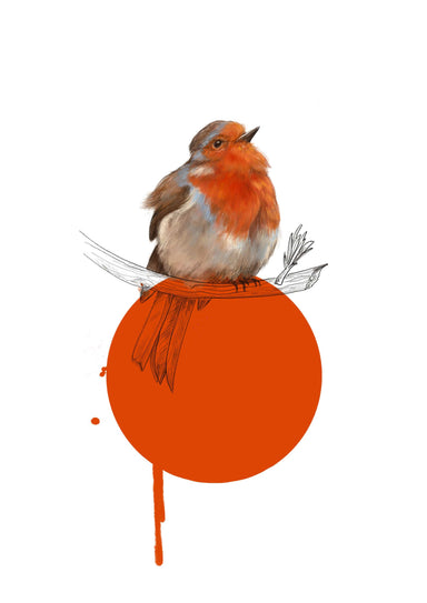 A Robin with a red dot and drippy paint