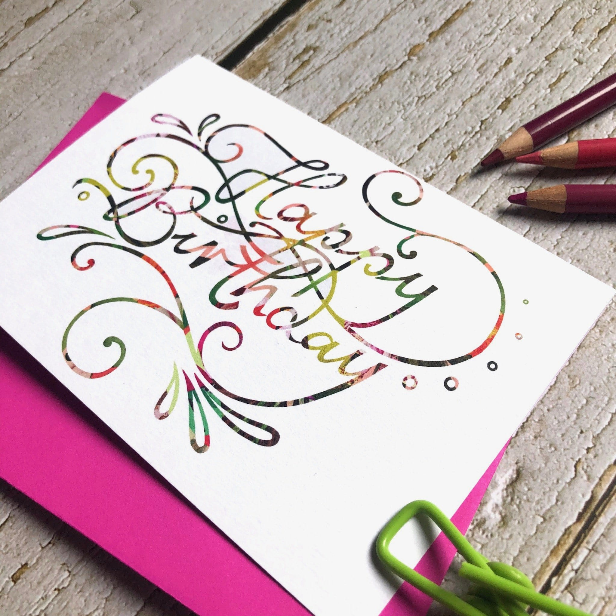 Happy Birthday Colourful Calligraphy Greeting Card