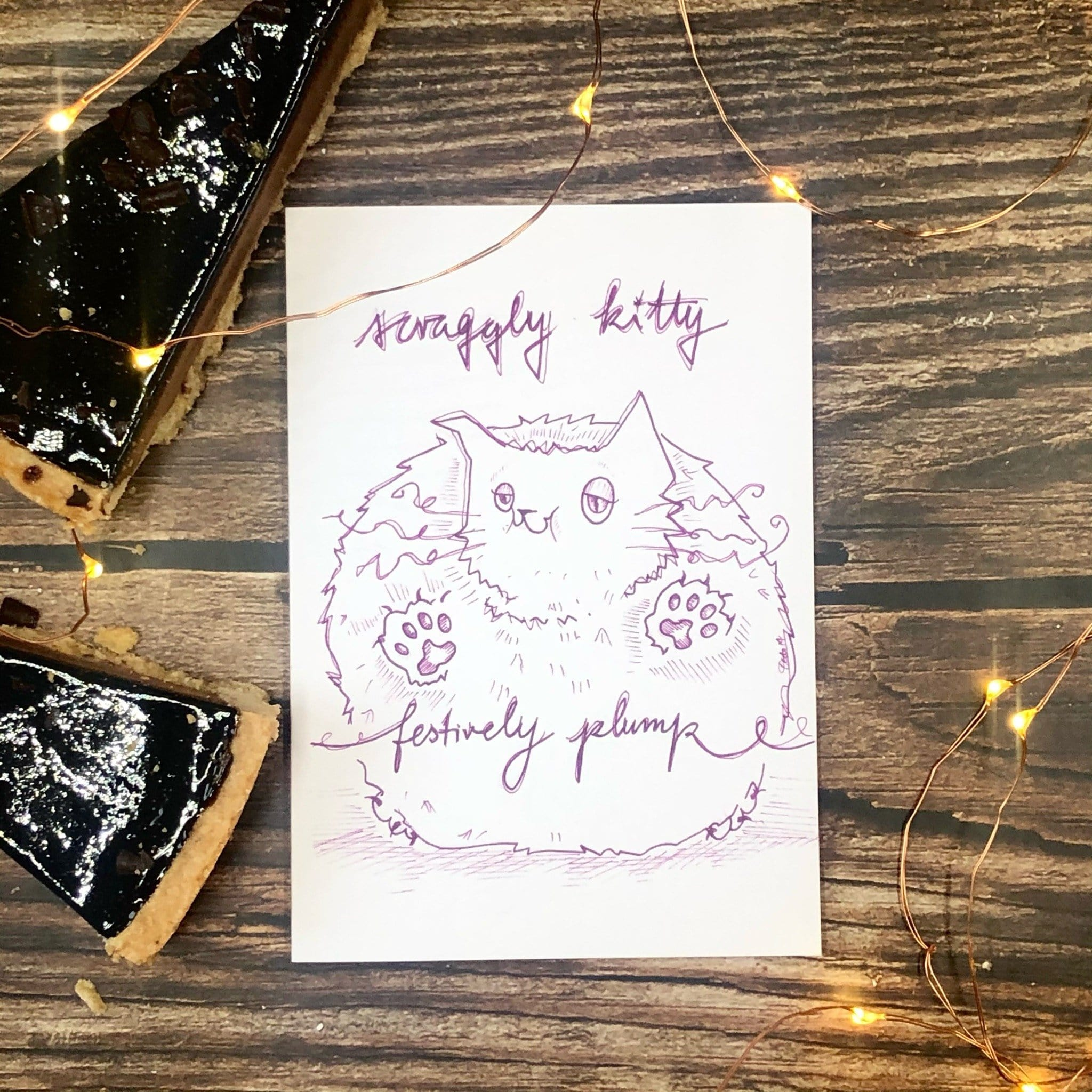 Scraggly Kitty Festively Plump Christmas Greeting Card