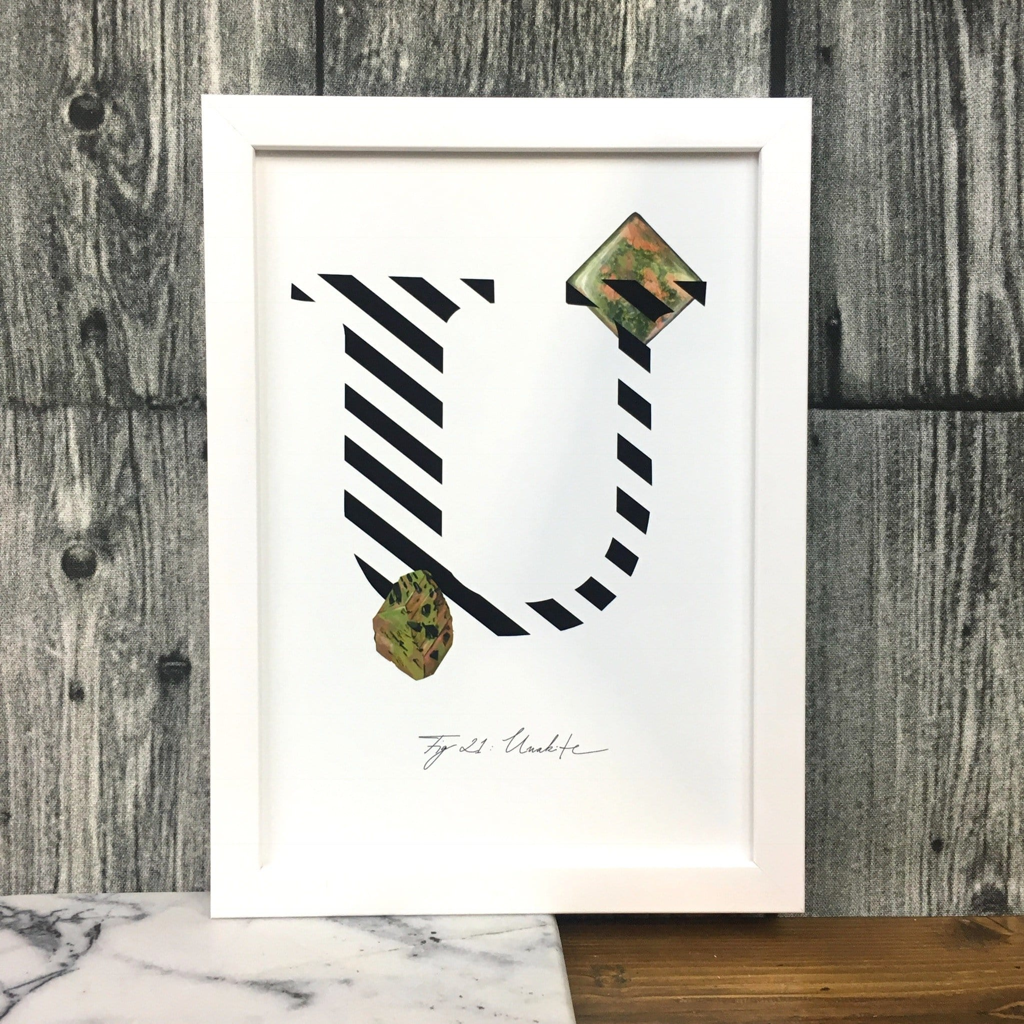 Gemstone Alphabet U Matte Art Print
