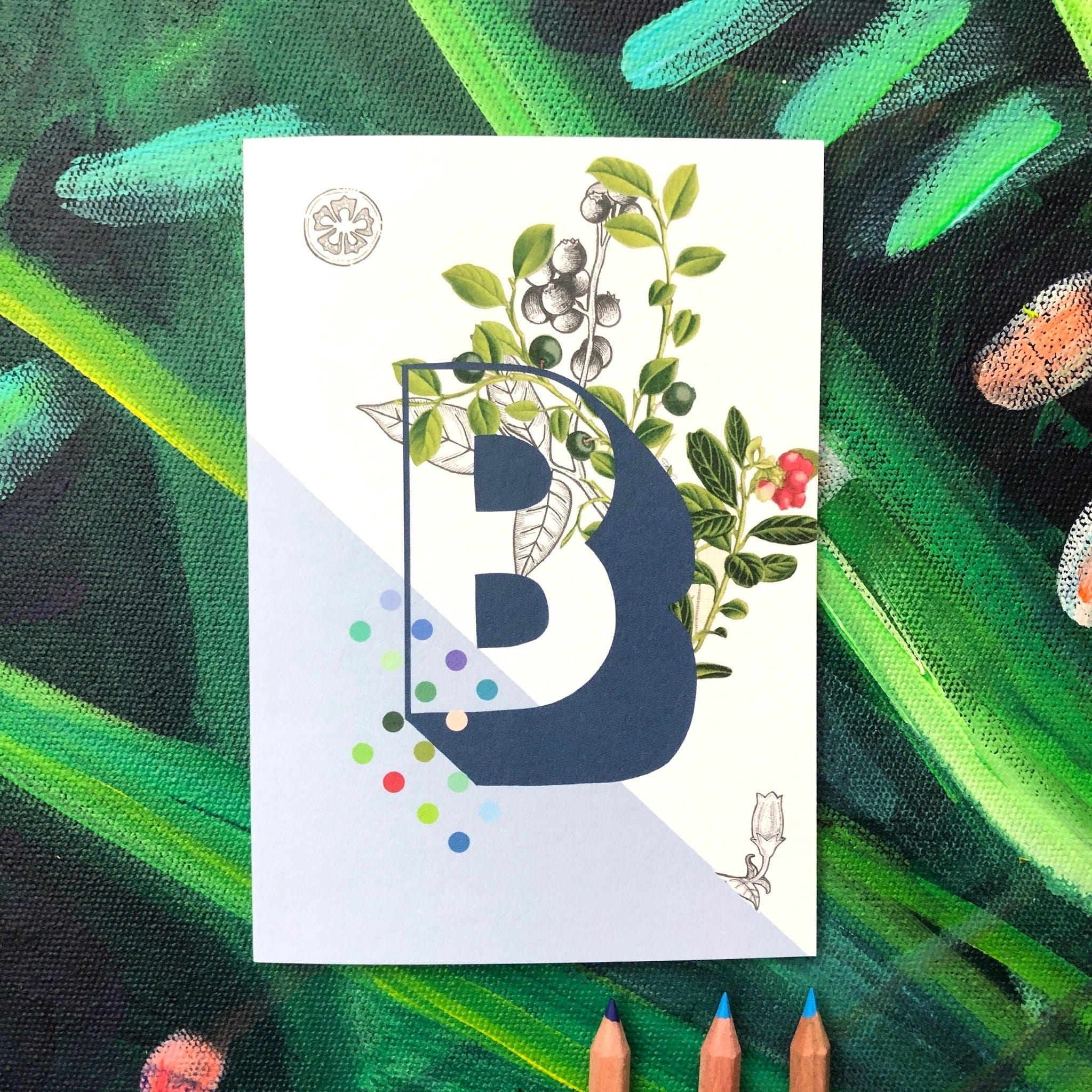 Botanical Alphabet B Greeting Card