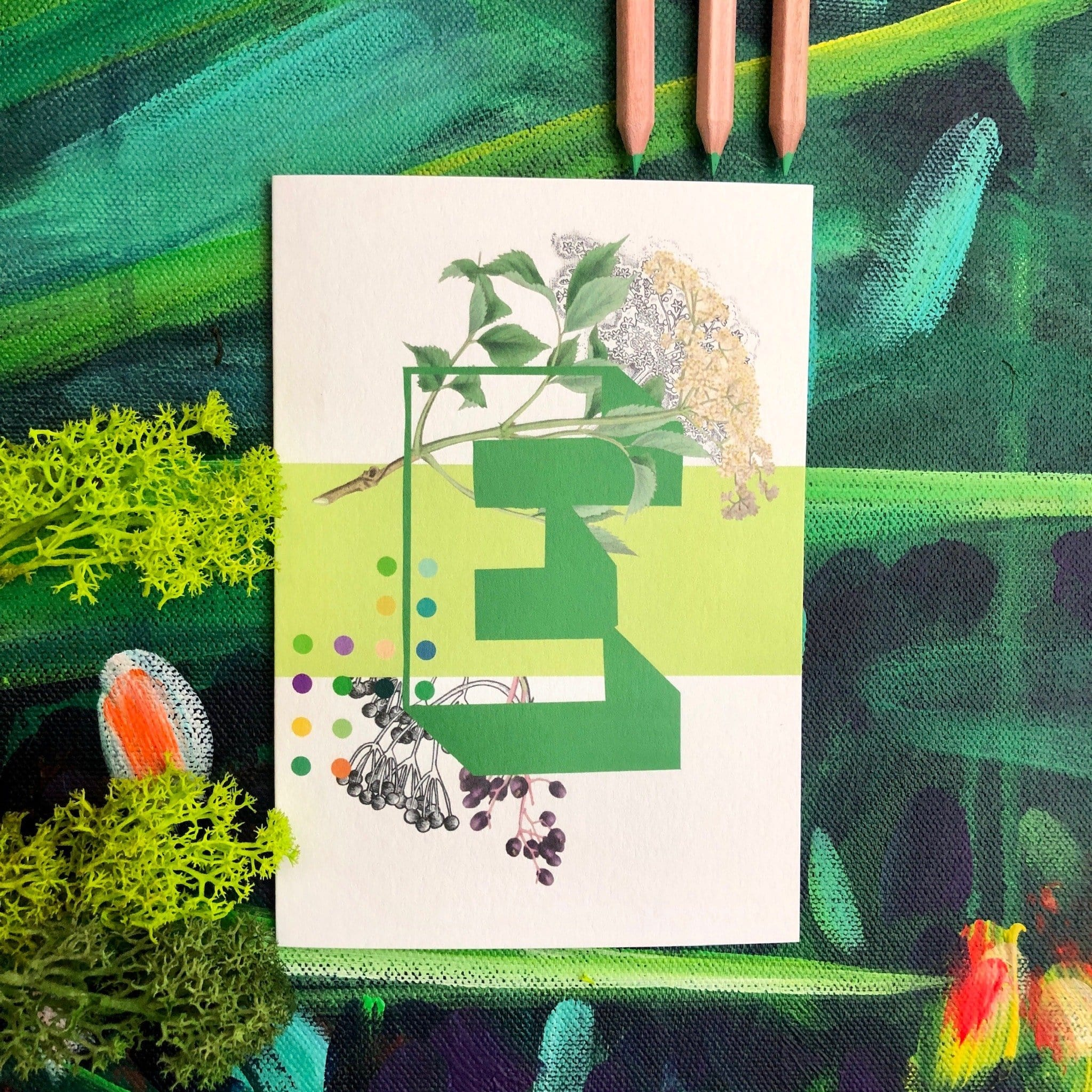 Botanical Alphabet E Greeting Card