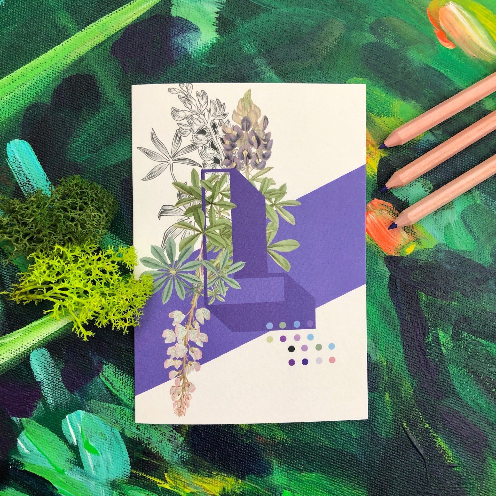 Botanical Alphabet L Greeting Card