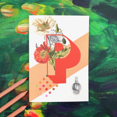 Botanical Alphabet P Greeting Card