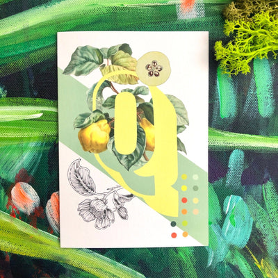 Botanical Alphabet Q Greeting Card