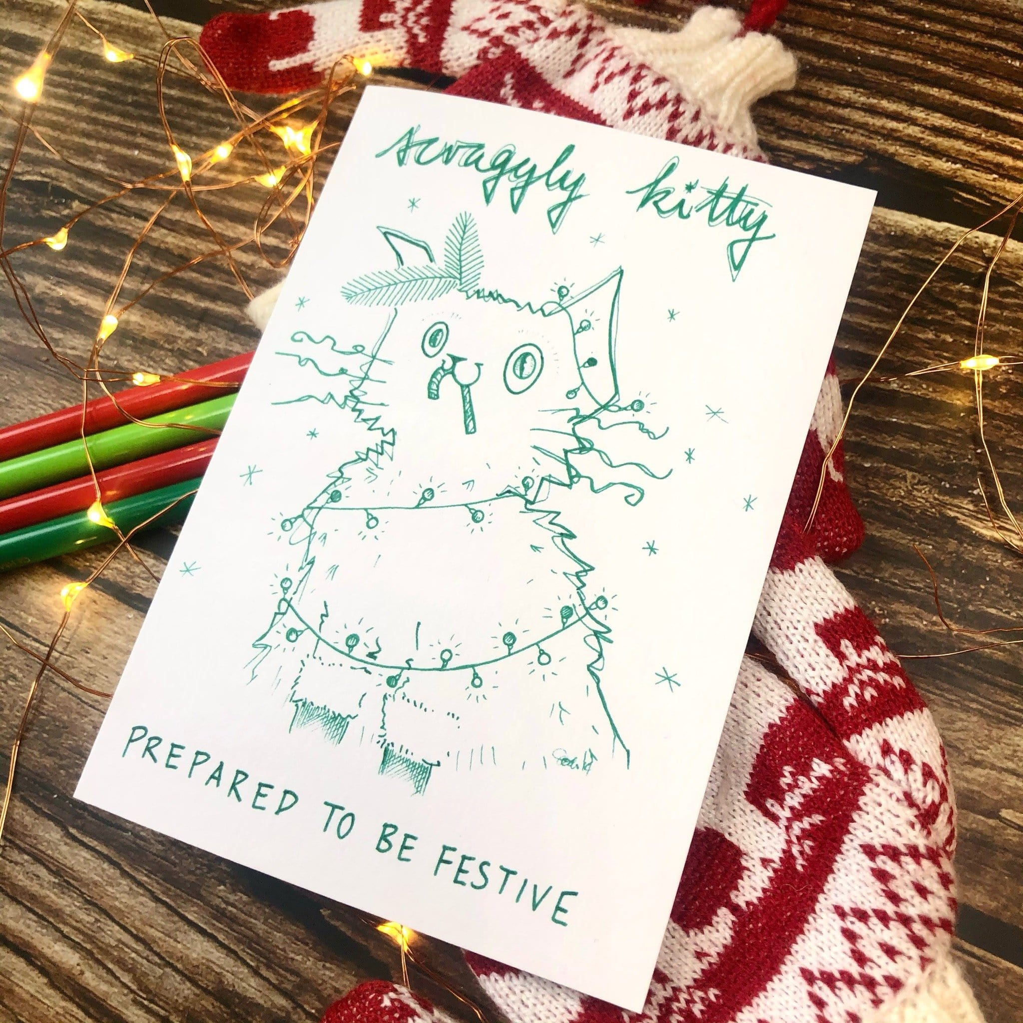 Scraggly Kitty Prepared To Be Festive Christmas Greeting Card
