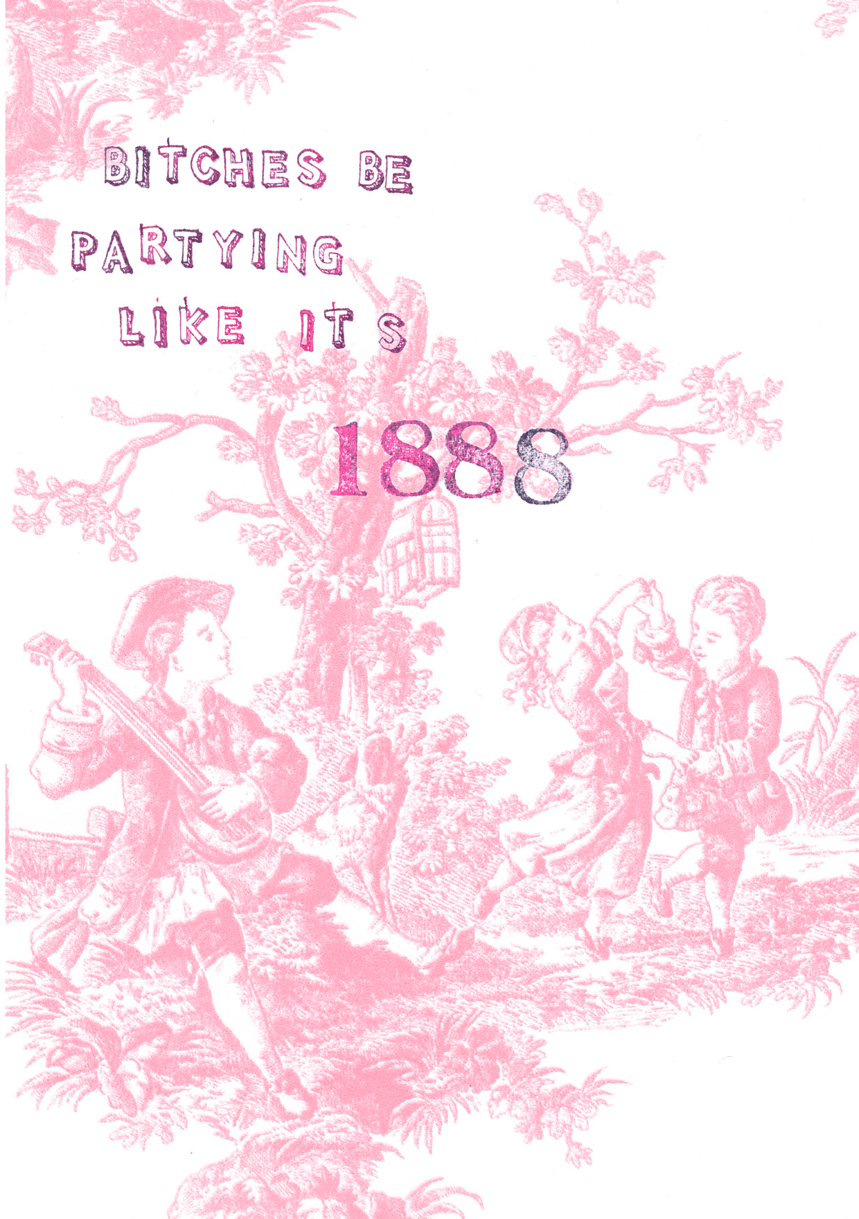 Pink Toile Bitches Be Partying Greeting Card