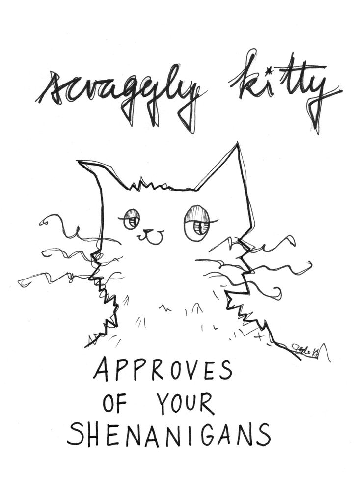 Scraggly Kitty Approves Of Your Shenanigans Greeting Card