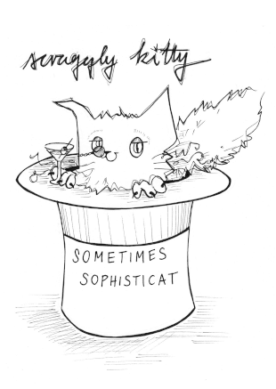 Scraggly Kitty Sometimes Sophisticat Greeting Card