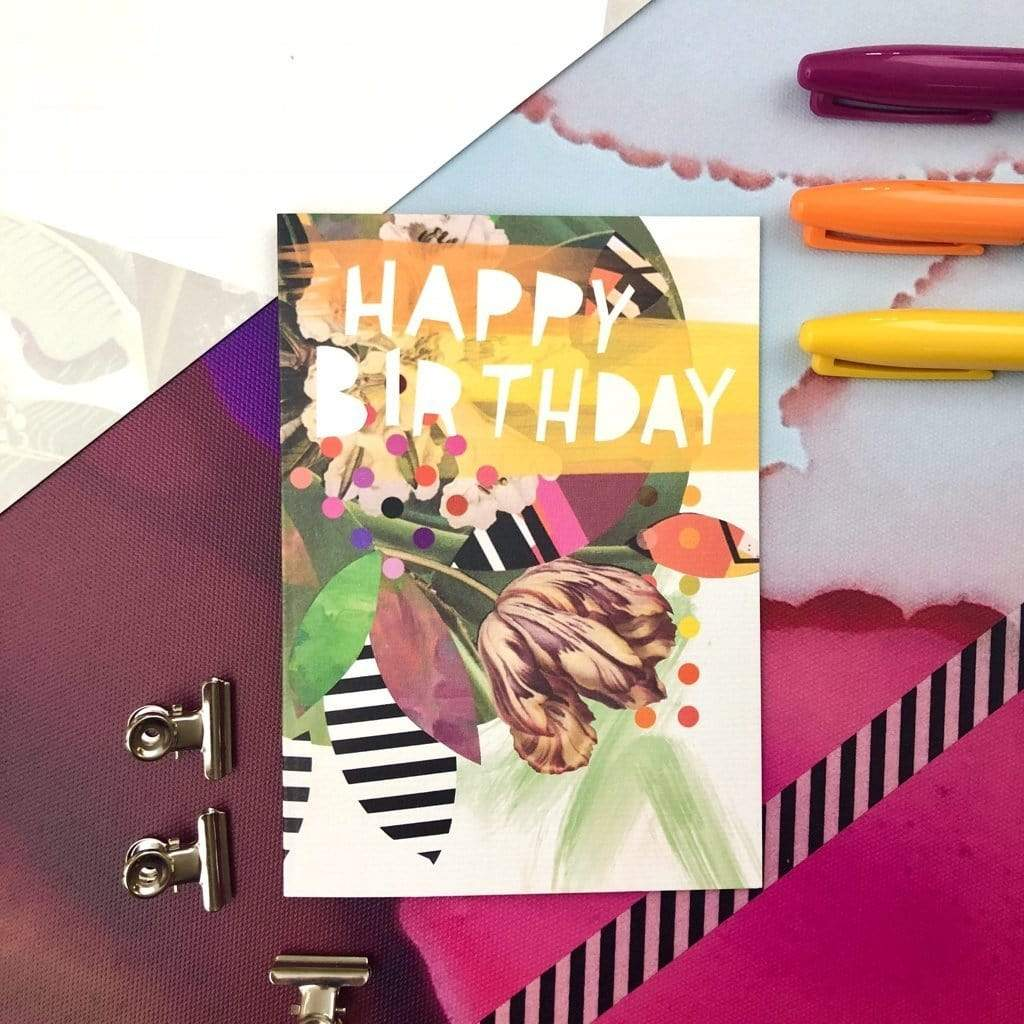 Motley Blooms - Happy Birthday Greeting Card