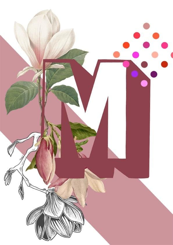 Card featuring the letter M