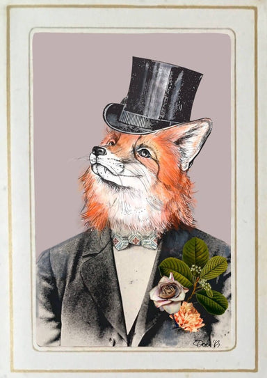 Fox In A Suit Matte Art Print