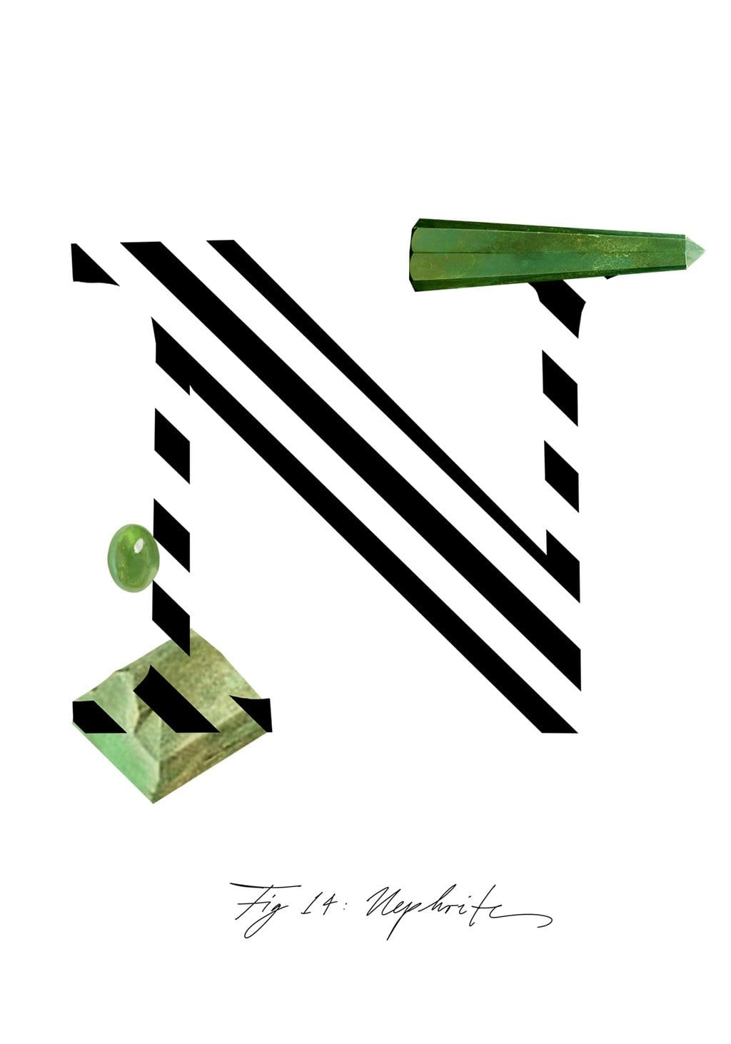 Greeting Card featuring the letter N and the gemstone Nephrite.