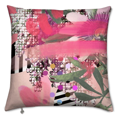 This image contains Cushion,Pink,Throw pillow,Pillow,Flower,Purple