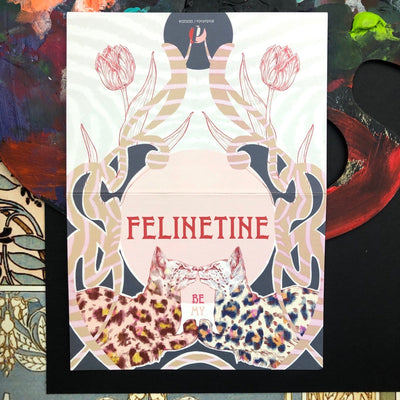 Nouveau Animaux - Be My Felinetine Greeting Card