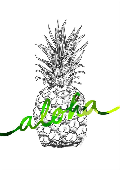 Aloha Pineapple Green Matte Art Print