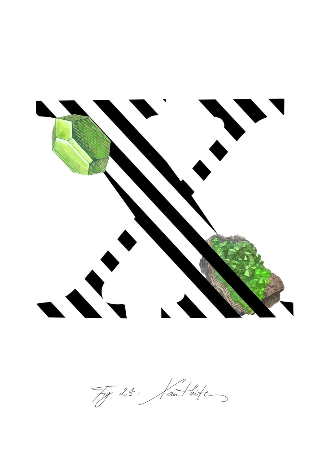 Greeting Card featuring the letter X and the gemstone Xanthite.