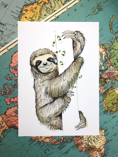 This image contains Sloth,Illustration,Three-toed sloth,Art,,