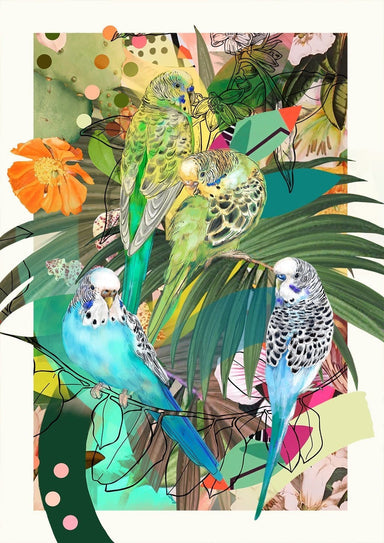 Blooming Budgerigars Matte Art Print