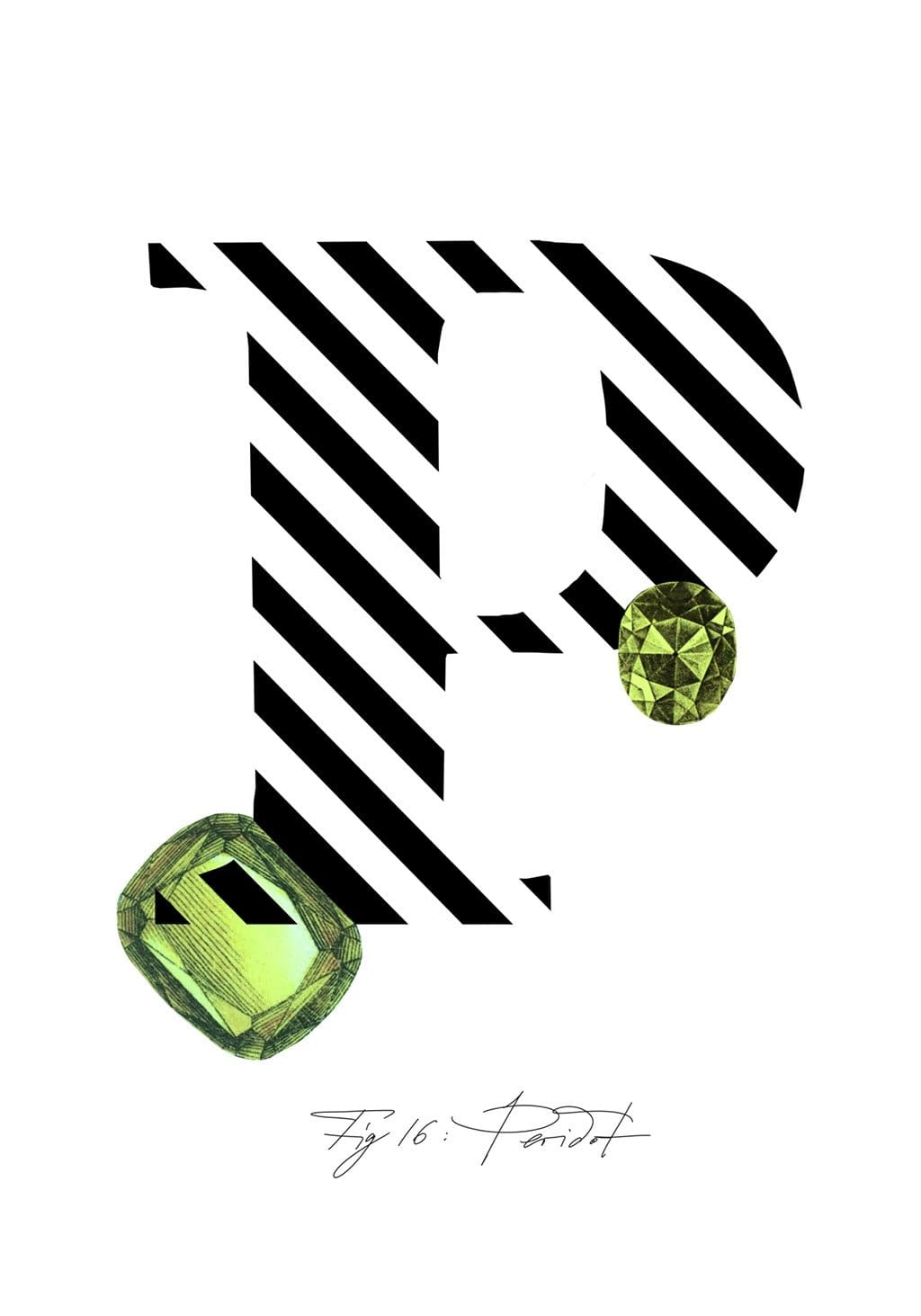 Greeting Card featuring the letter P and the gemstone Peridot.