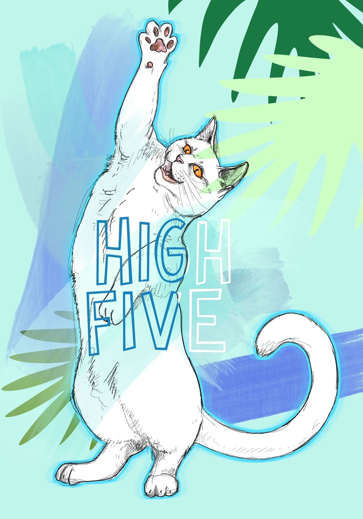 Cats On Legs - High Five Greeting Card