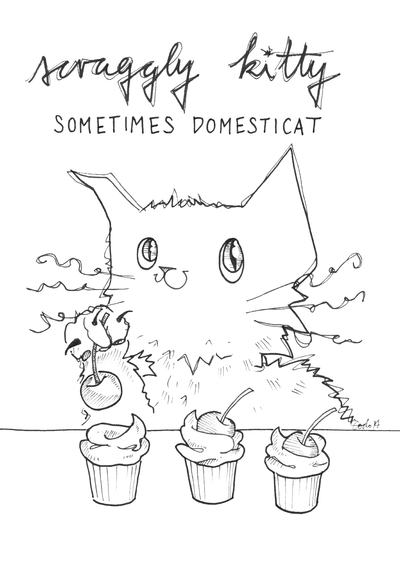 Scraggly Kitty Sometimes Domesticat Greeting Card