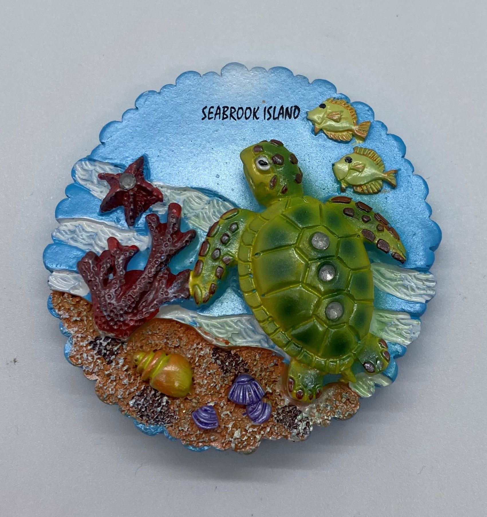SI Turtle Jeweled Round Magnet