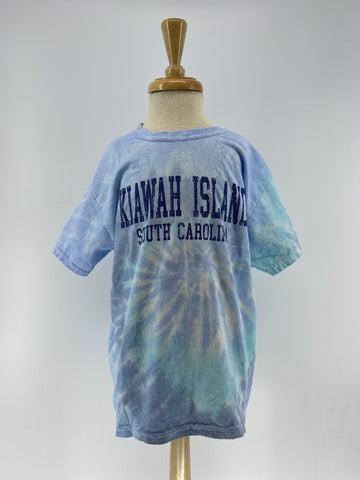 KI Youth Tie Dye SS Tee - College Block - Lagoon