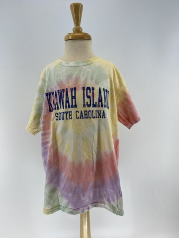 KI Youth Tie Dye SS Tee - College Block - Rainbow
