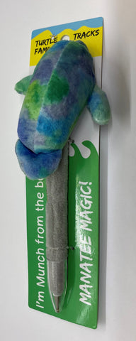 Munch Bl/Grn Manatee Plush Pen