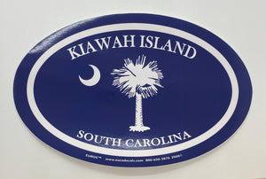Large Blue Palm/Moon Decal
