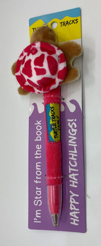 Star Pink Turtle Plush Pen