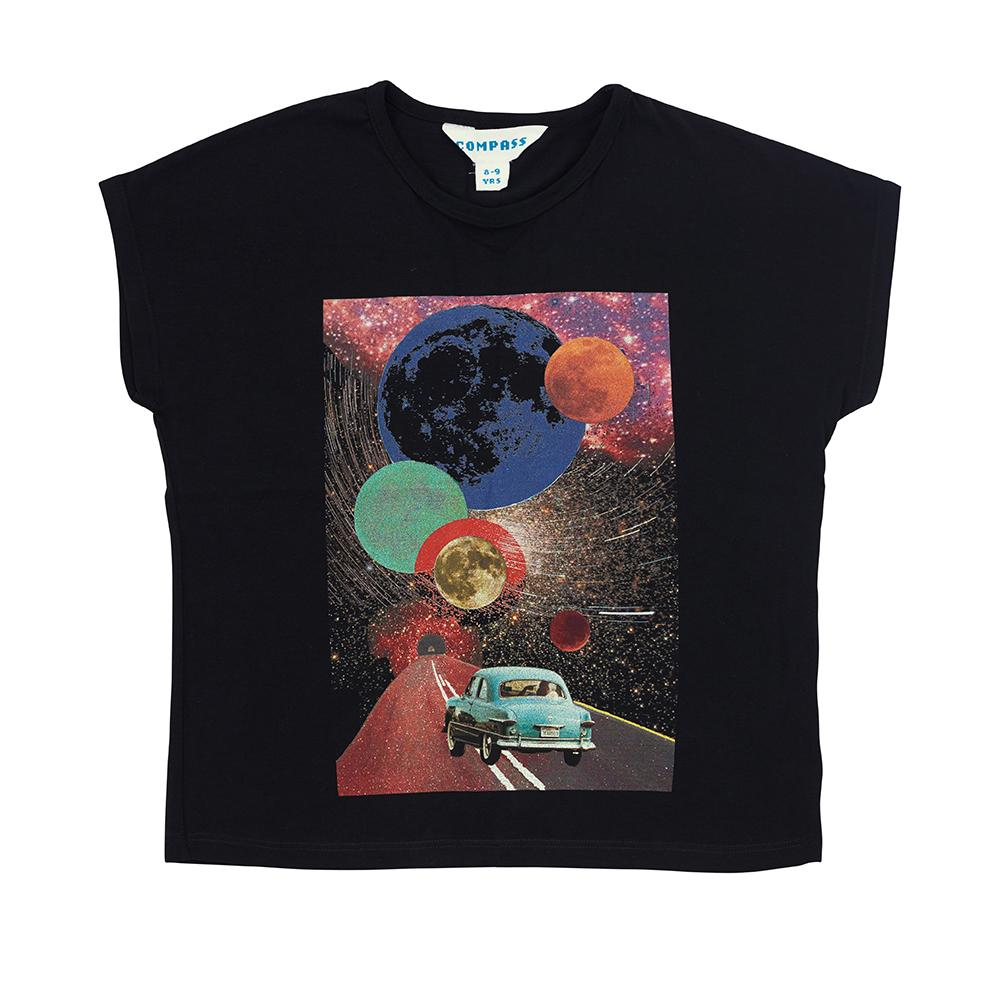 Postcard Tee - Travelling to the Moon - Black