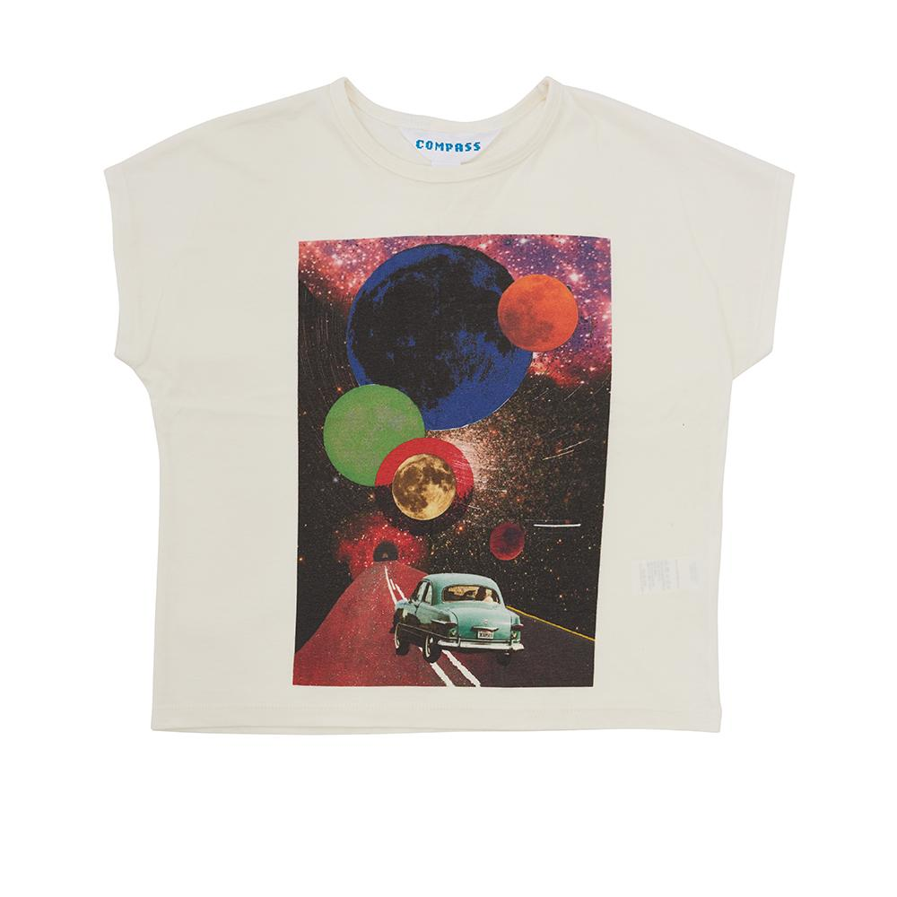 Postcard Tee - Travelling to the Moon - White