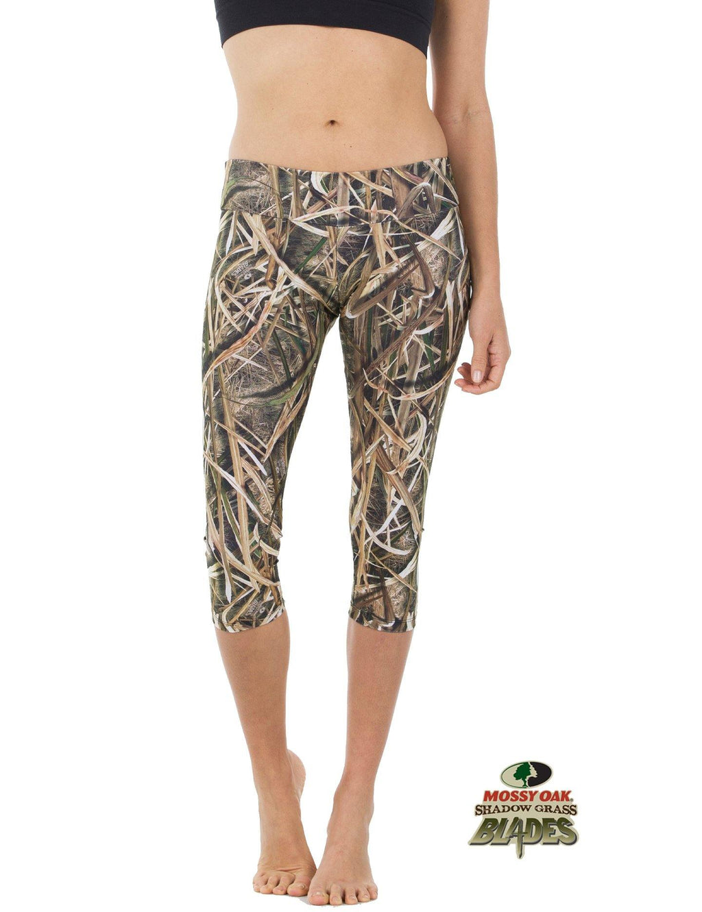 Apsara Leggings Low Waist Capri, Mossy Oak Shadow Grass Blades