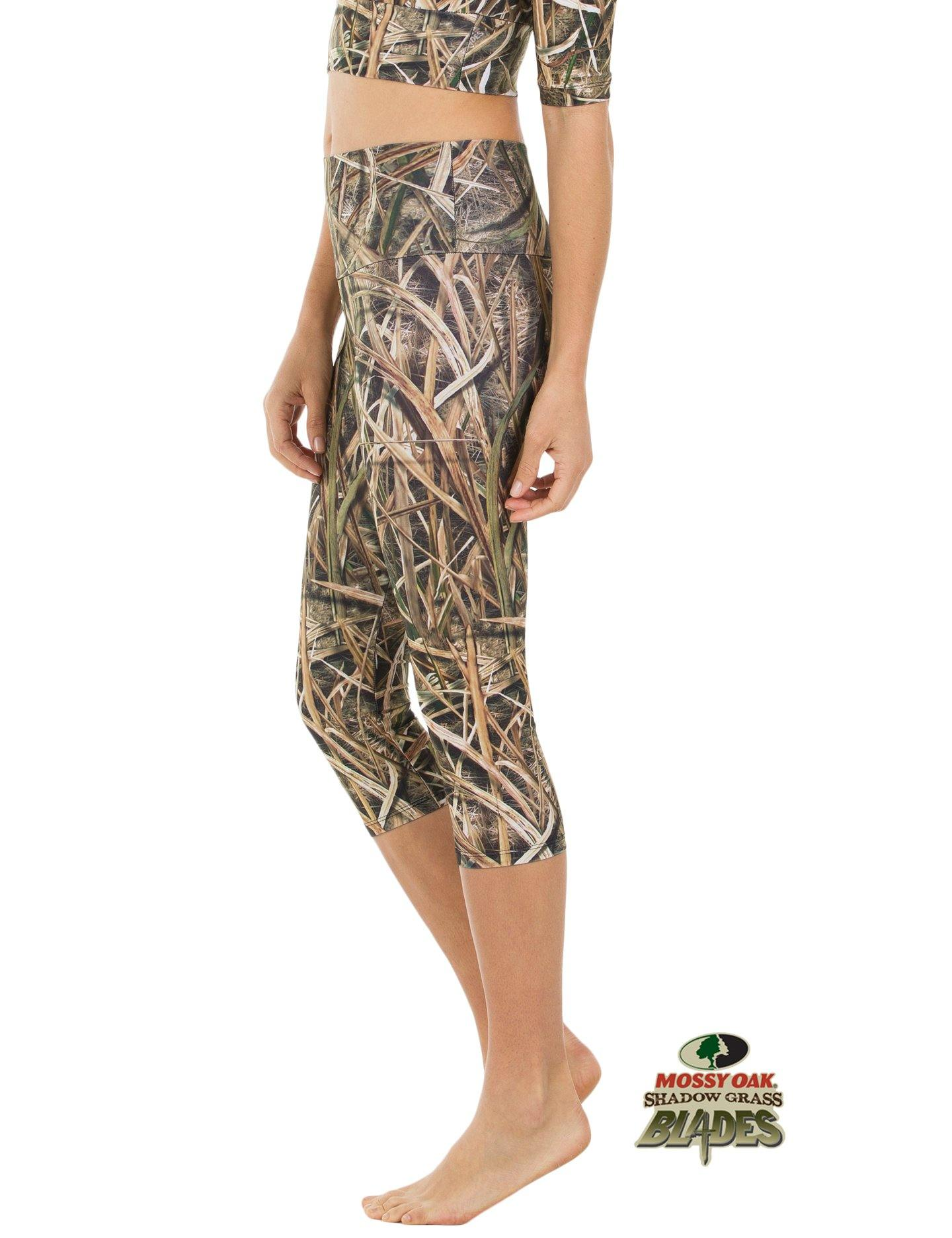 Apsara Leggings High Waist Capri, Mossy Oak Shadow Grass Blades