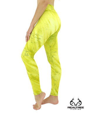 Apsara Leggings Low Waist Full Length, Realtree Fishing Light Lime