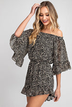 Load image into Gallery viewer, Off the Shoulder Animal Print Romper