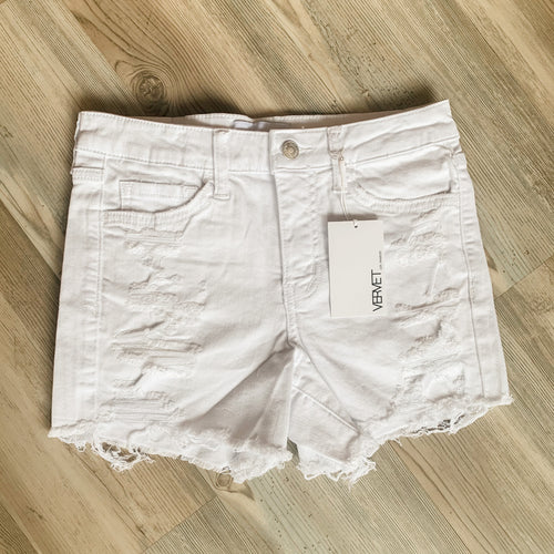 Mid Rise Distressed White Shorts