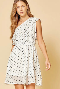 One Shoulder Polka Dot Dress