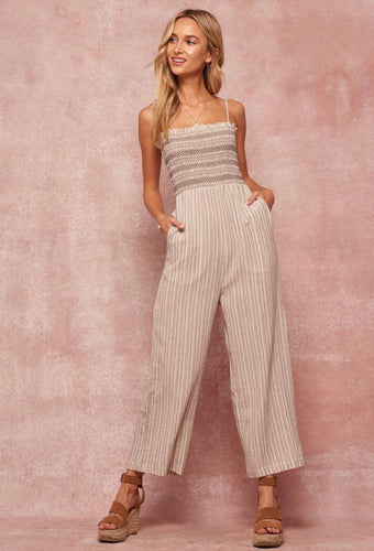 Striped Charcoal Smocked Jumpsuit