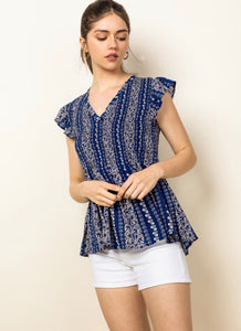 Smocked Leaf Print Top
