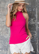 Load image into Gallery viewer, Hot Pink High Neck Ribbed Tank