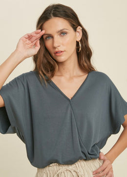 Teal French Surplice Top