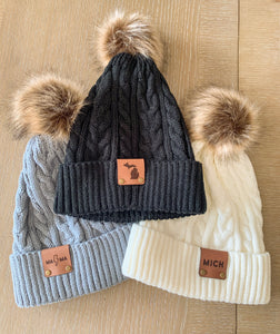 Pom Pom Beanie with Leather Patch